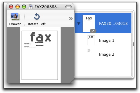 viewing a fax with Preview in MacOS X